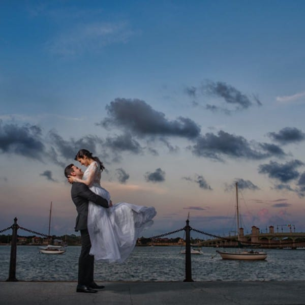Bride and Groom in front of Matanzas Bay, Photo by Rob Futrell