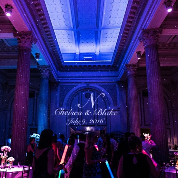 Wedding reception lighting at The Treasury on The Plaza