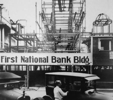 Construction on The First National Bank Building | History of The Treasury on The Plaza