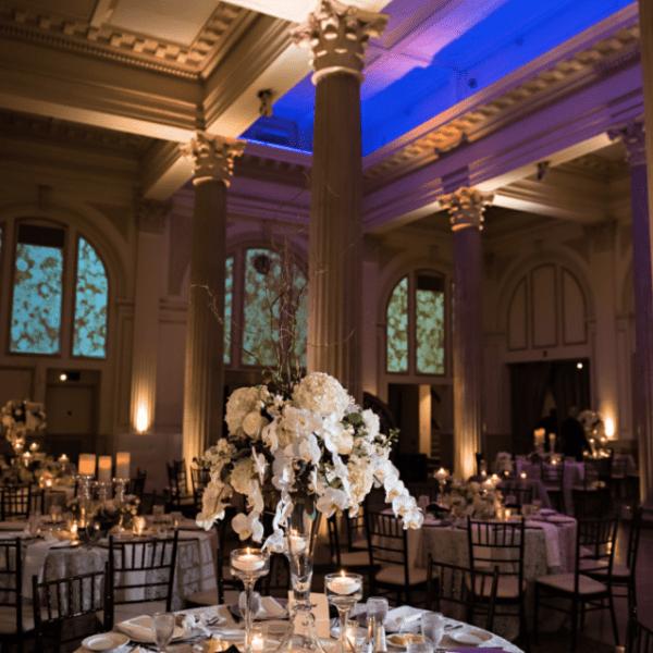 wedding reception lighting at The Treasury on The Plaza