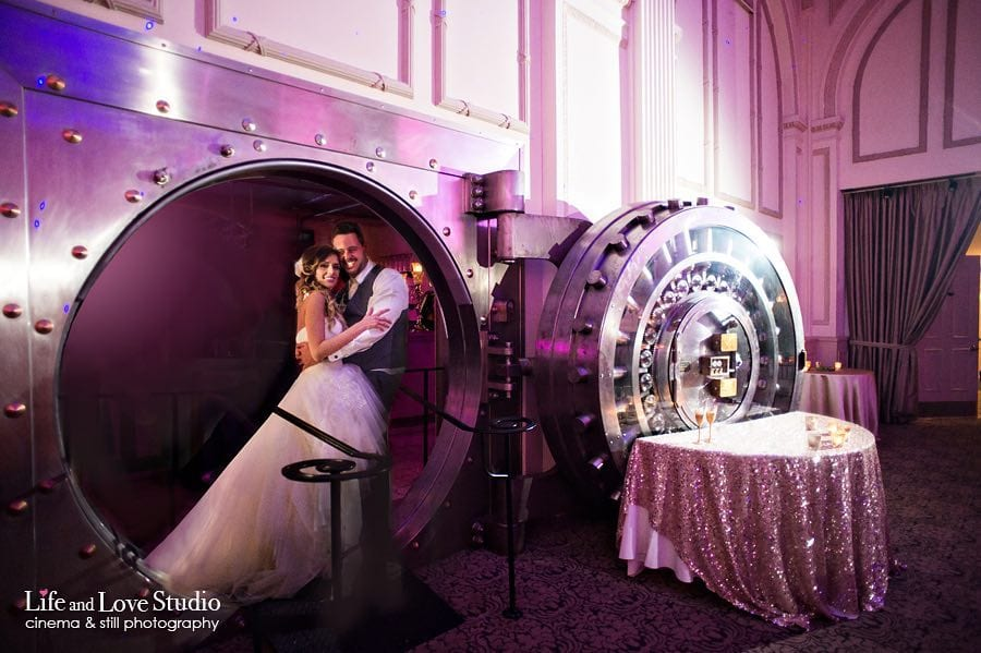 bride and groom inside vault during wedding at The Treasury on The Plaza St. Augustine