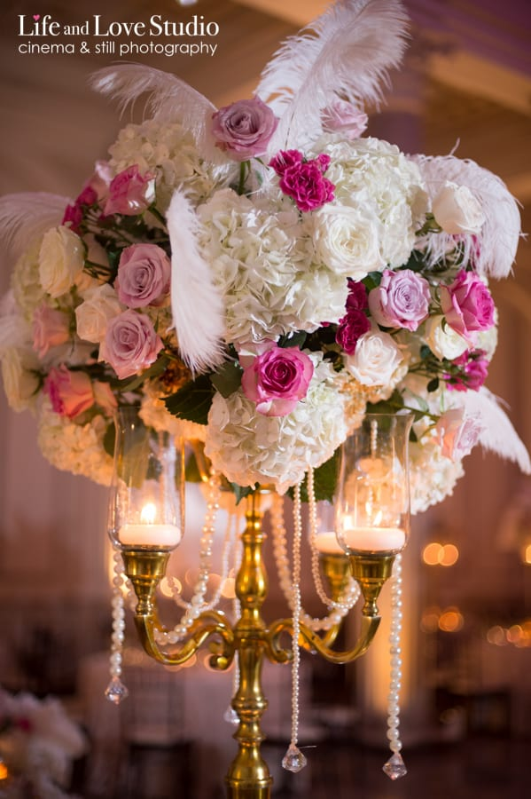 Wedding table centerpieces at The Treasury on The Plaza St. Augustine