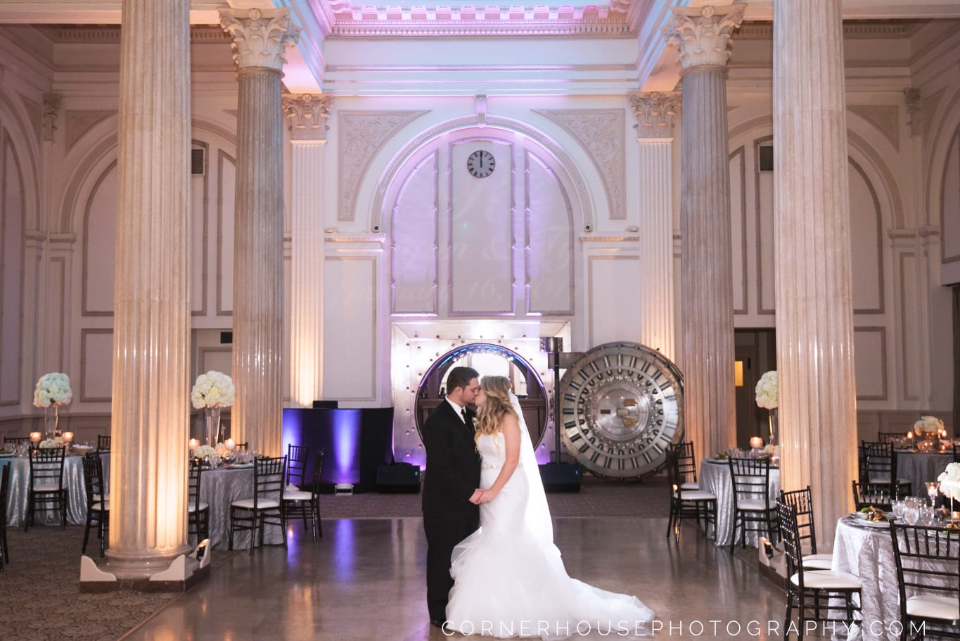 Bride and Groom in front of the vault at The Treasury on The Plaza