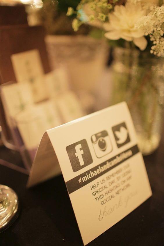 Wedding Hashtag Table Sign
