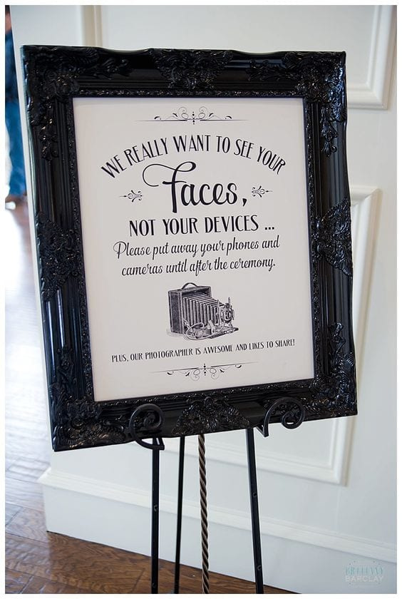 No Phone during wedding ceremony sign