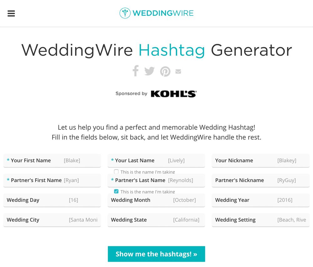 Wedding Hashtag Generator from WeddingWire