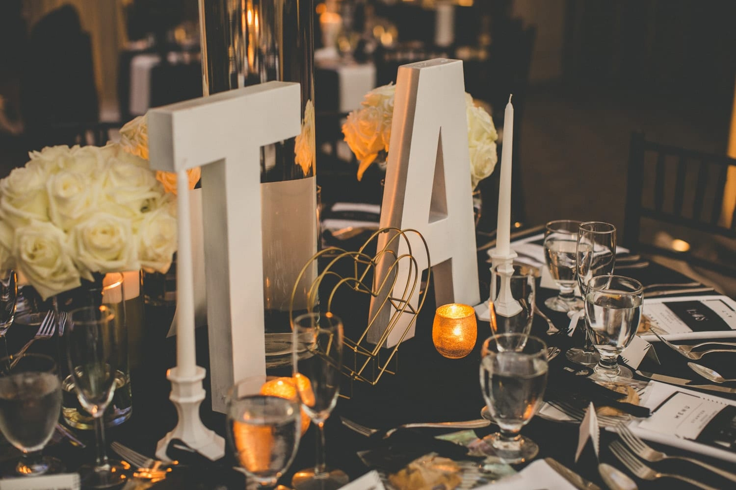Reception table setup | Modern St. Augustine Wedding at The Treasury on The Plaza