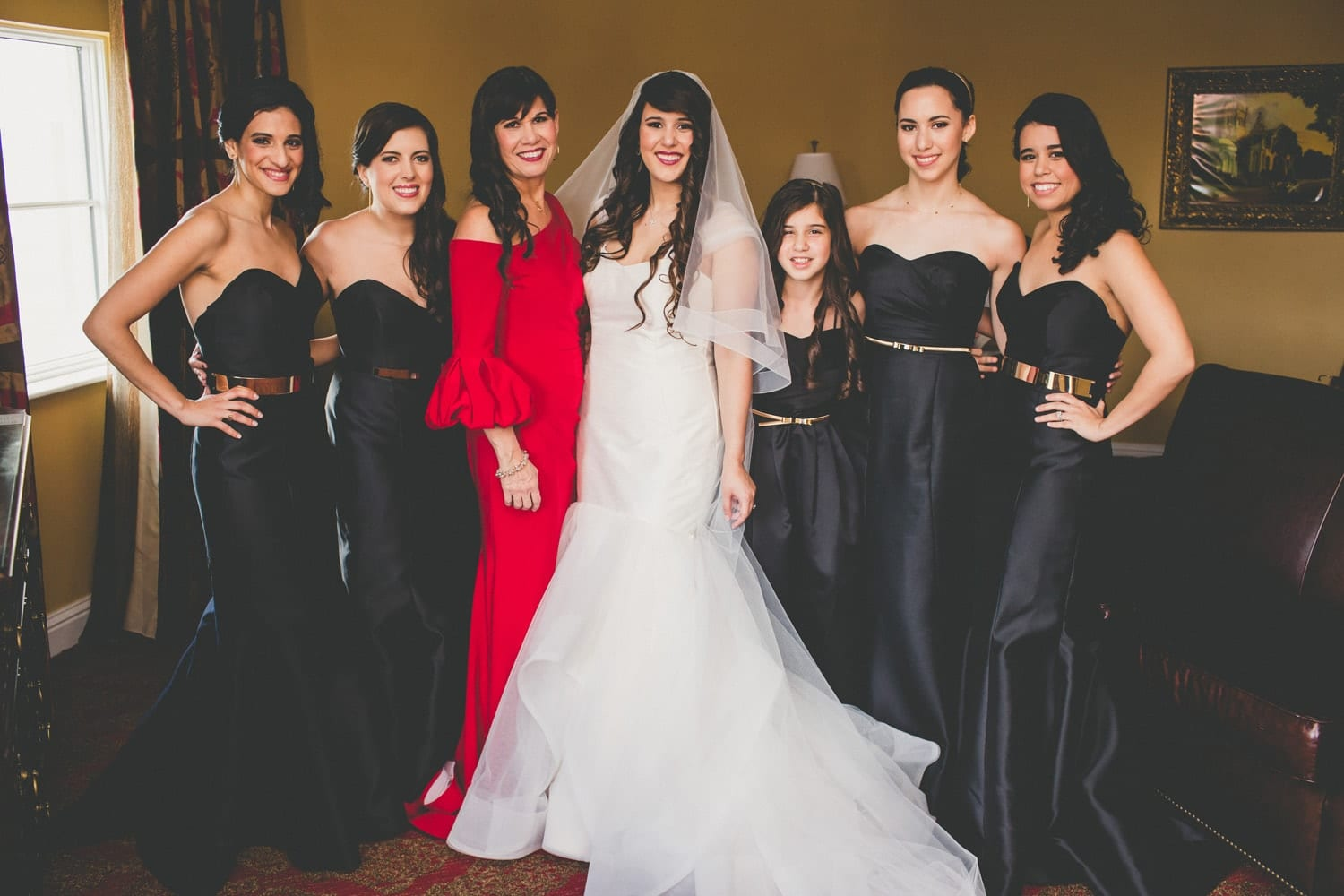 Bridesmaids Portrait | Modern Geometric Wedding in St. Augustine at The Treasury on The Plaza