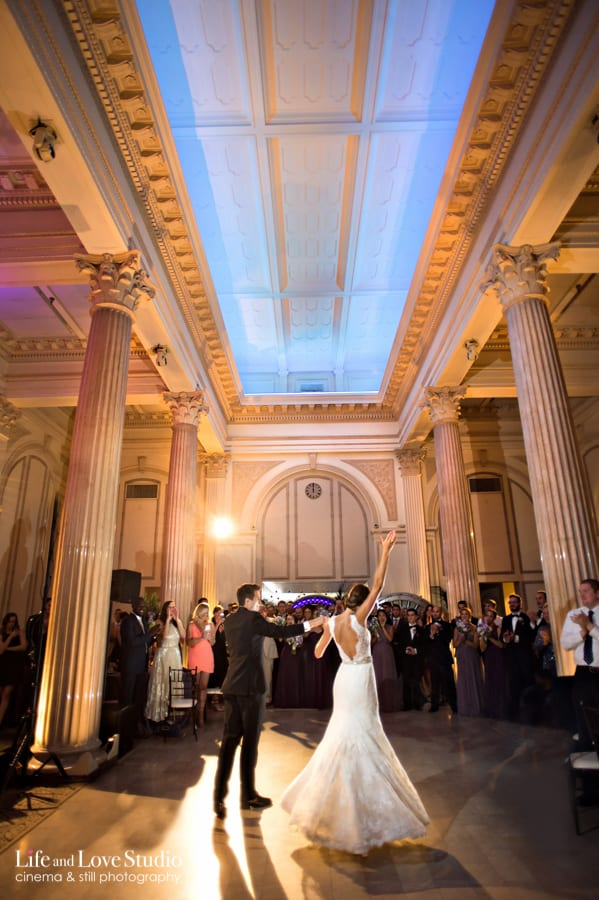 Bride and Groom Dancing during their Reception at the Treasury on The Plaza wedding and event venue in Saint Augustine Florida