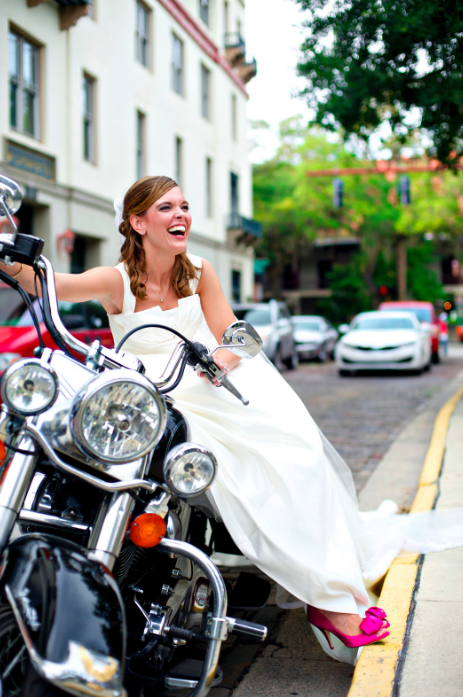 Bride on a Motorcycle in St. Augustine