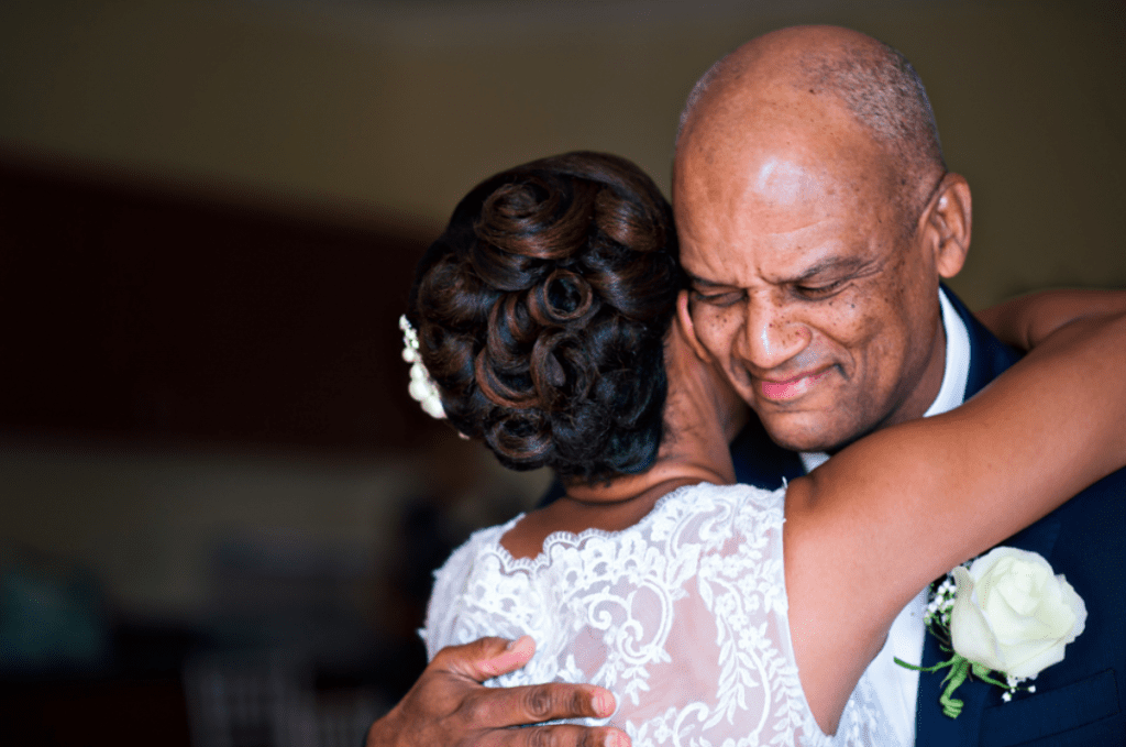 Emotional Father Daughter moment on wedding day