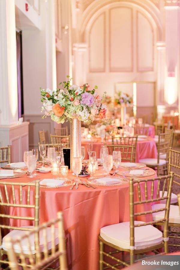 Wedding table decor setup at The Treasury on the PLaza