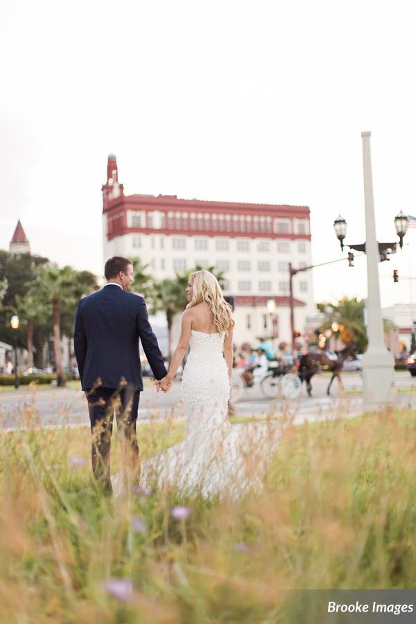 Downtown St. Augustine Bride and Groom at The Treasury on The Plaza