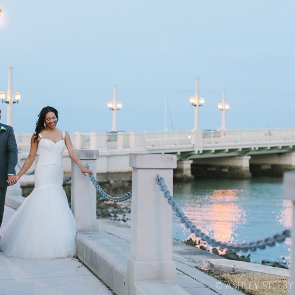 Bride and Groom Bridge of Lions St. Augustine