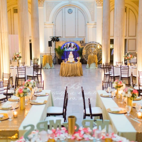 Mint and Gold Wedding reception in Grand Ballroom St. Augustine