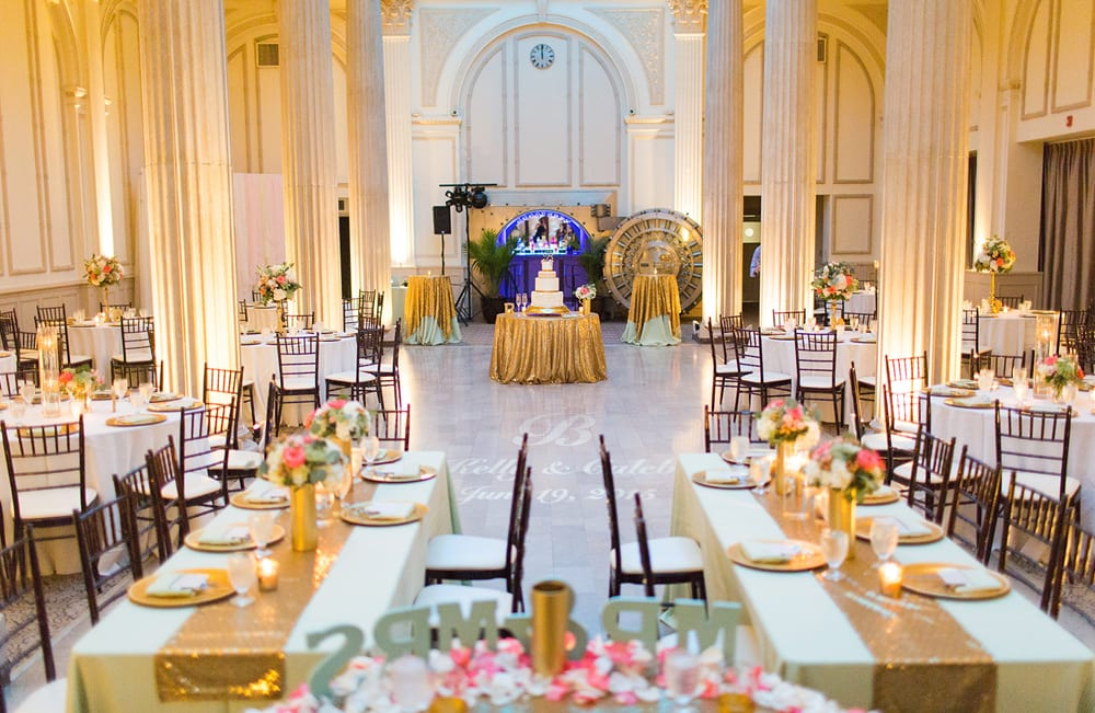 Florida Mint And Gold Wedding Reception In Grand Ballroom St Augustine