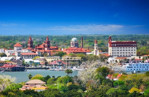 View across the Matanzas Bay to historic downtown St. Augustine
