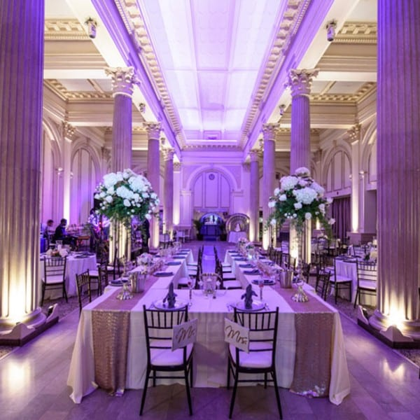 Purple Wedding Reception Photo at The Treasury