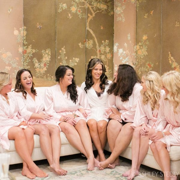 Bridesmaids in Robes in Bridal Suite