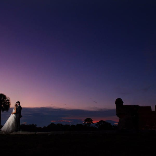 Bride and Groom in Front of the Fort in St. Augustine