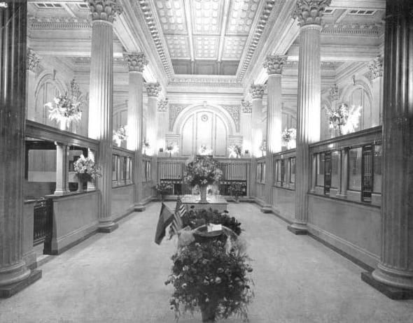 Lobby of The First National Bank | History of The Treasury on The Plaza