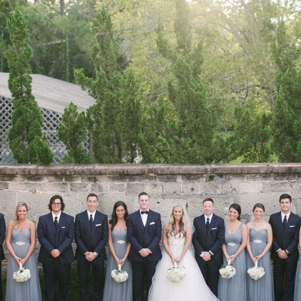 Bridal Party portrait at The Treasury on The Plaza St. Augustine