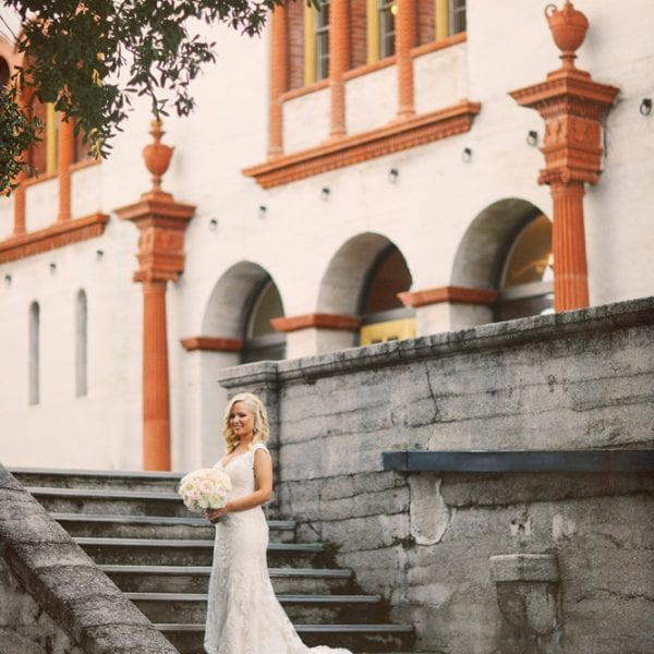 Bride on the steps of The Lightner Museum