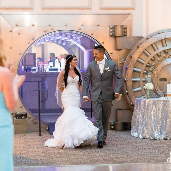 Bride and Groom in front of Bank Vault