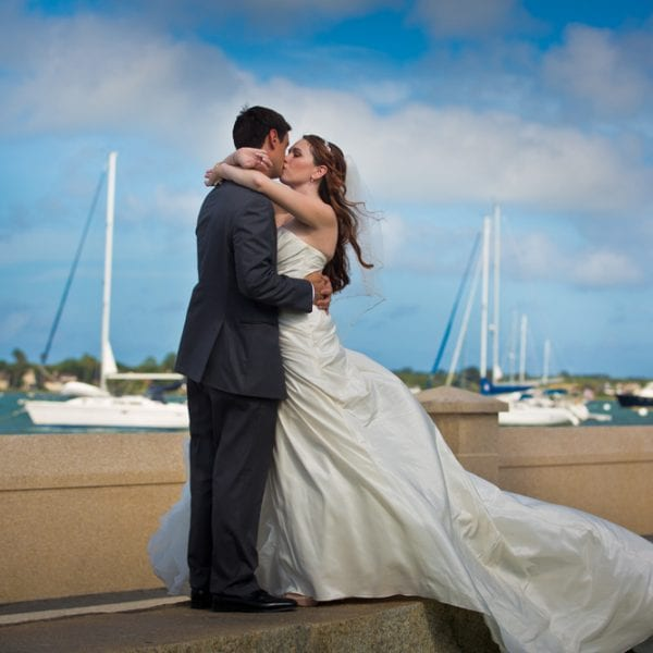 Bride and Groom in front of the Matanzas River