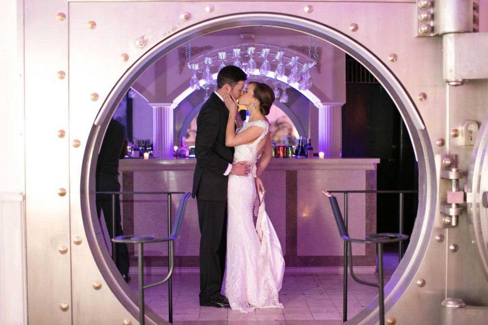 Bride and Groom at The Vault at The Treasury on The Plaza, Photo by Ashley Steeby Photography