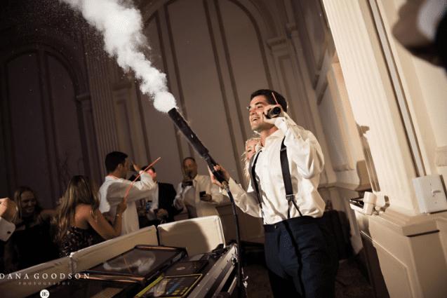 groom having fun during wedding reception