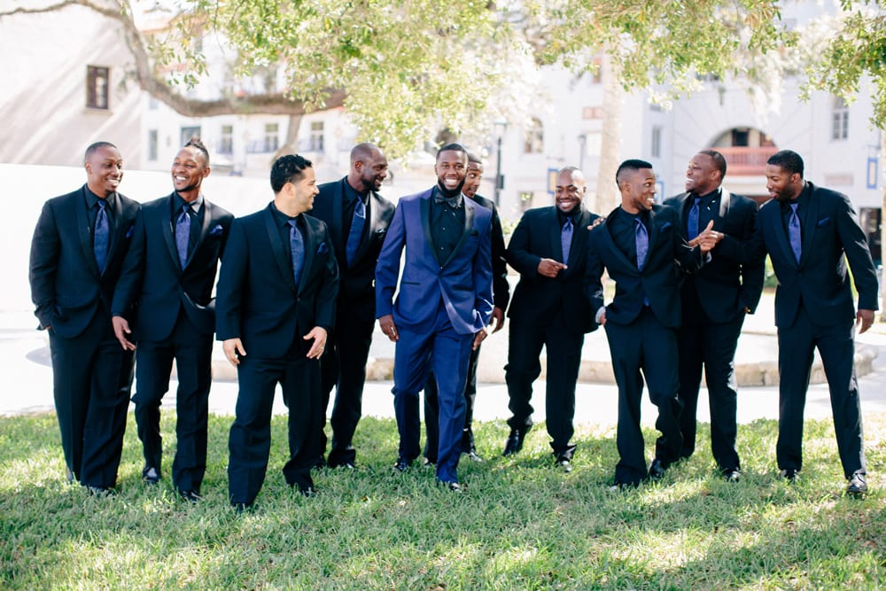 Groomsmen portraits for wedding at The Treasury on The Plaza St. Augustine