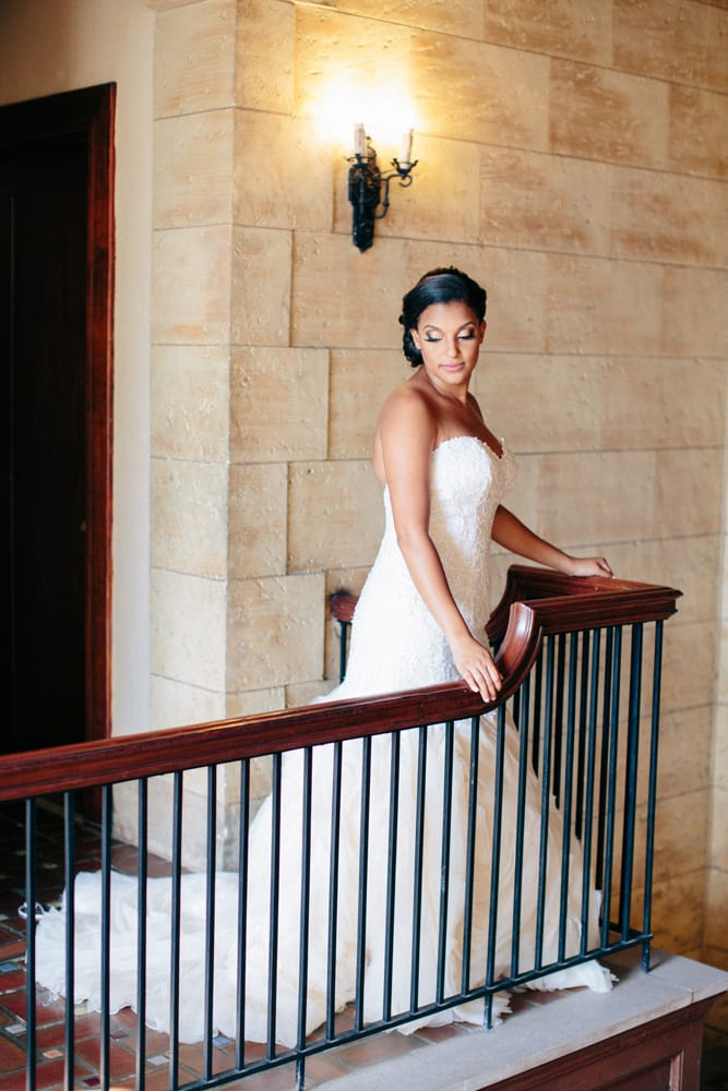 Bride poses before wedding Ceremony at The Treasury on The Plaza St. Augustine