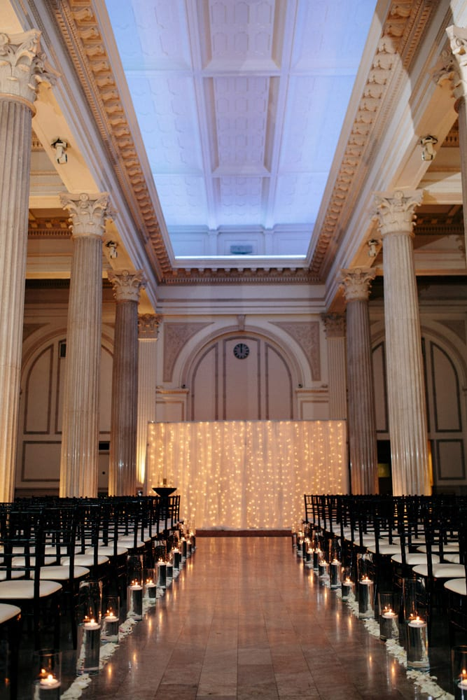Lighting Wedding Backdrop Wedding Ceremony at The Treasury on The Plaza St. Augustine