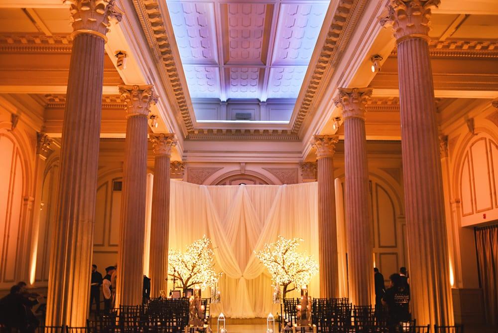 Beautiful wedding ceremony draping at The Treasury on The Plaza