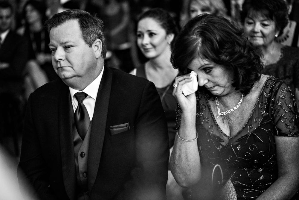 Parents cry during wedding ceremony