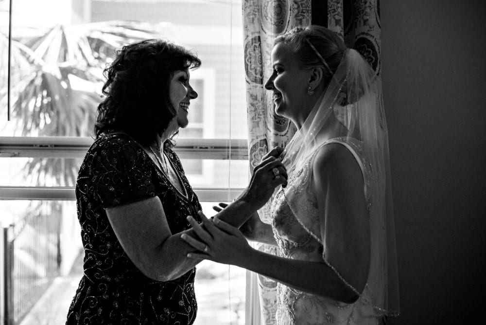 Mother and daughter getting ready for wedding