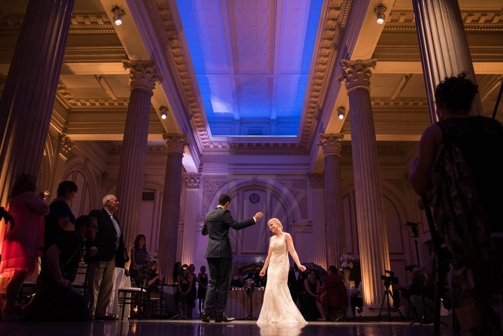Bride and groom first dance during wedding reception