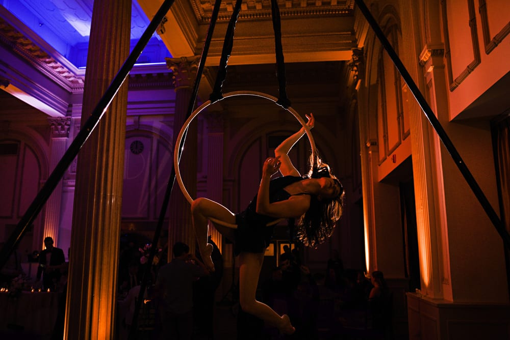 Aerialist doing circus moves during reception at The Treasury St. Augustine