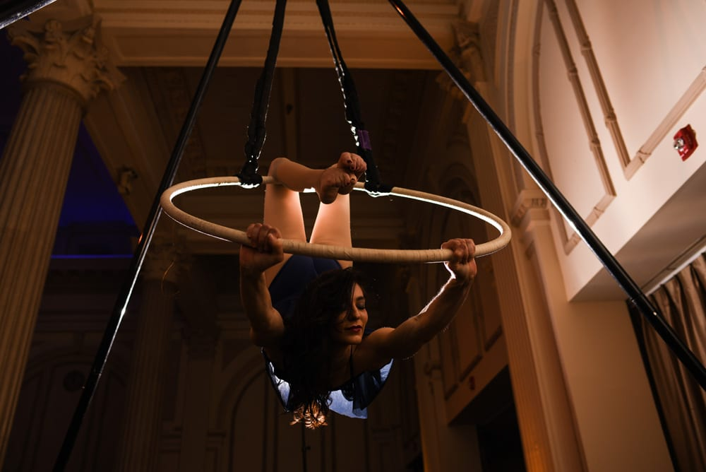 Aerialist during wedding reception at The Treasury St. Augustine