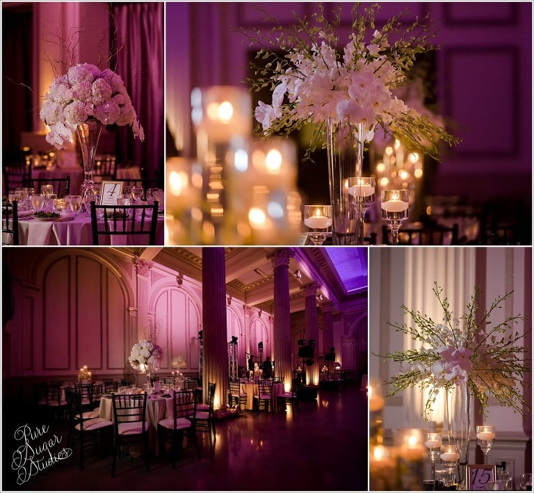 Wedding reception details at The Treasury on The Plaza