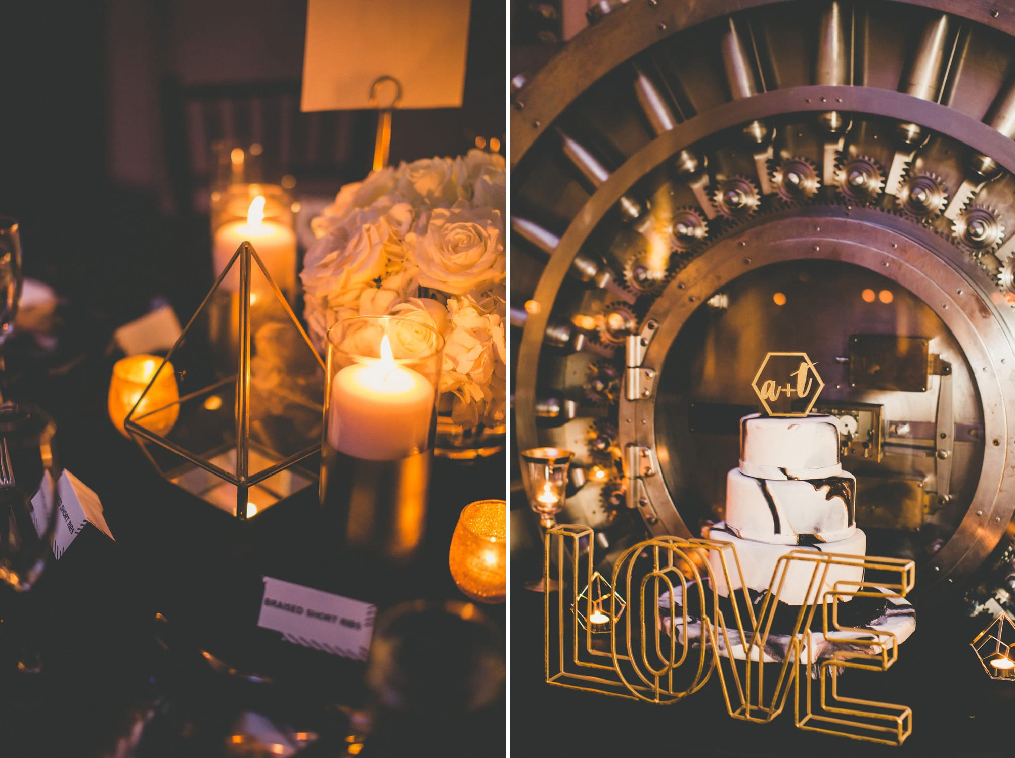 Bank Vault cake backdrop | Modern St. Augustine Wedding at The Treasury on The Plaza