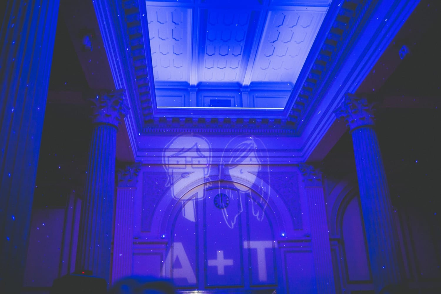 Wedding lighting projection | Modern St. Augustine Wedding at The Treasury on The Plaza