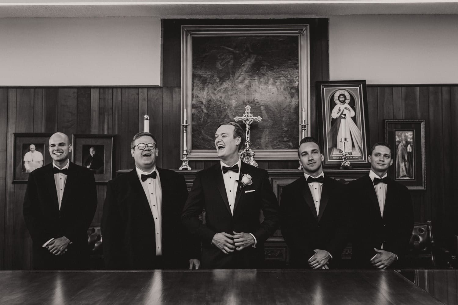 Groomsmen Portrait | Modern Geometric Wedding in St. Augustine at The Treasury on The Plaza