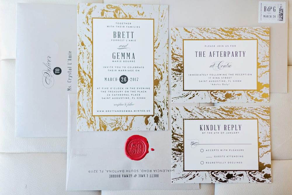 Wedding Invitations | A Romantic Modern Wedding At The Treasury on the Plaza, St. Augustine