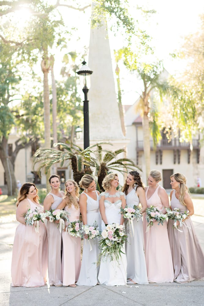 Bridesmaids Dresses | A Romantic Modern Wedding At The Treasury on the Plaza, St. Augustine