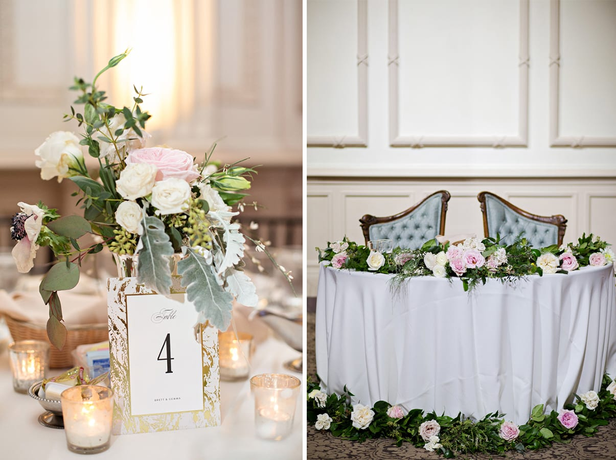 Wedding Reception Decor | A Romantic Modern Wedding At The Treasury on the Plaza, St. Augustine