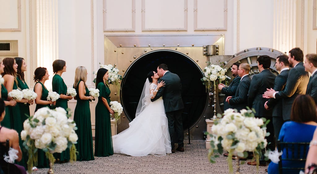 Wedding ceremony first kiss | Vault Wedding in St. Augustine Florida | Treasury Blog