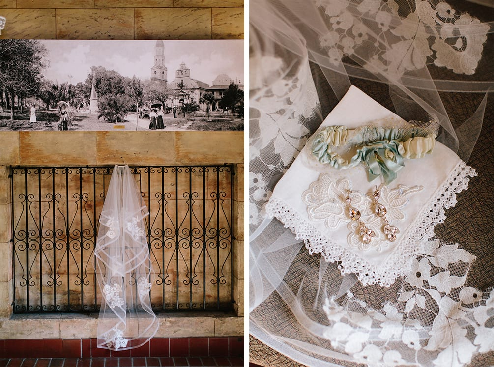 Wedding Garter, Veil, and Earrings | Vault Wedding in St. Augustine, Florida | Treasury Blog
