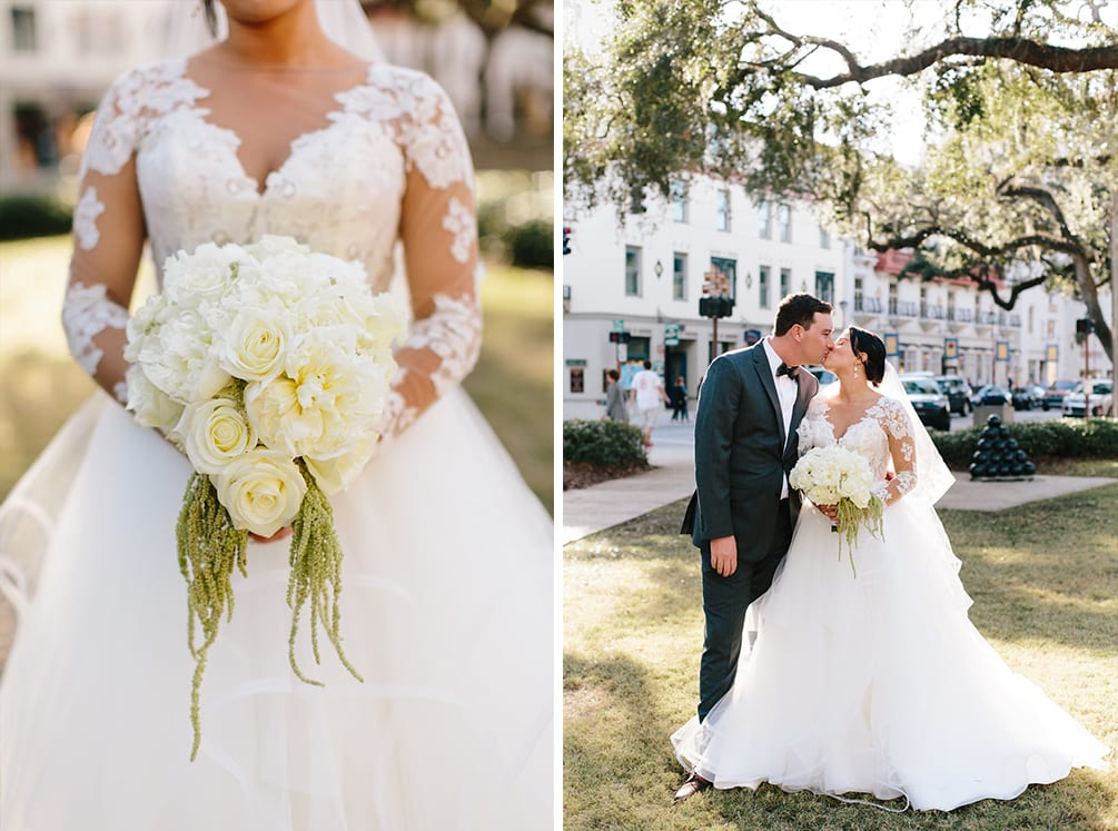 Bride and groom Plaza de la Constitucion | Vault Wedding in St. Augustine, Florida | Treasury Blog